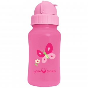 drinkfles met rietje - roze vlinder